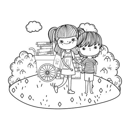 happy little kids with cart books in the landscape vector illustration design Ilustrace