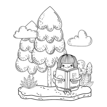 happy little girl reading book in the garden vector illustration design Ilustrace