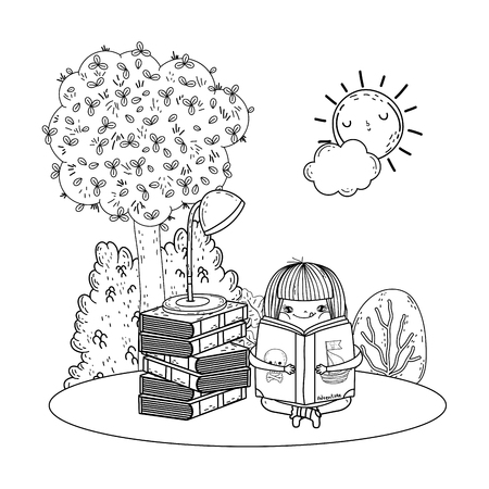 happy little girl reading books in the field vector illustration design