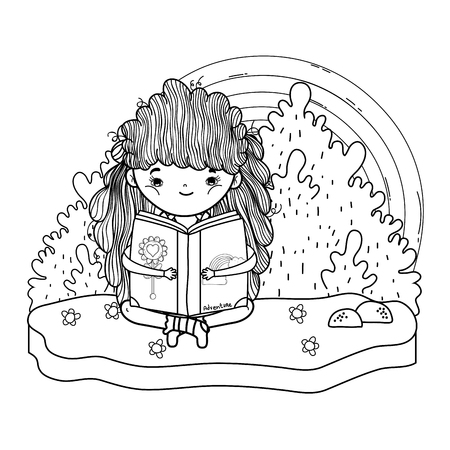 happy little girl reading book with rainbow vector illustration design