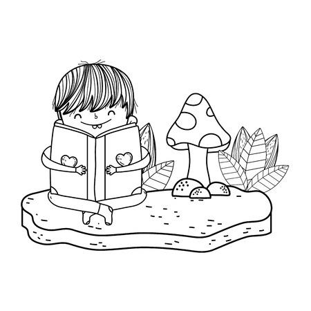 happy little boy reading book in the landscape vector illustration design