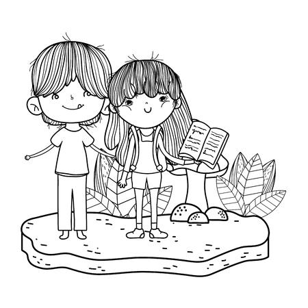 happy little kids reading books in the landscape vector illustration design