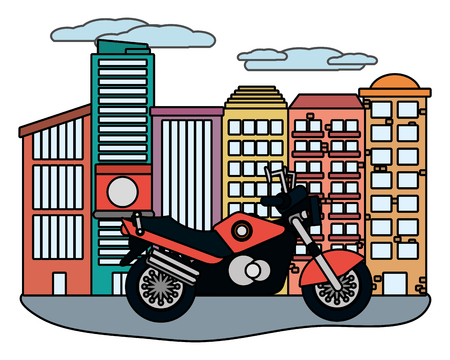 urban motorcycle in front buidings cartoon vector illustration graphic design Illustration