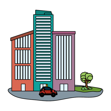 car in front buildings cartoon vector illustration graphic design