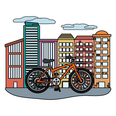 transport bicycle in front buildings cartoon vector illustration graphic design Illustration