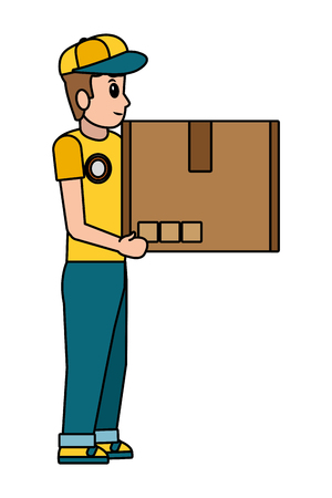 delivery service logistic man with box cartoon vector illustration graphic design Çizim