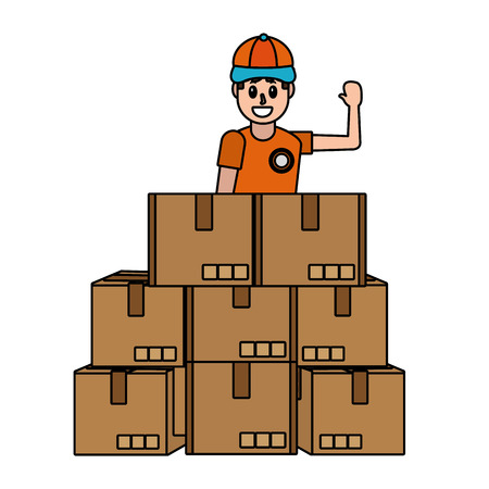 delivery service logistic man with boxes cartoon vector illustration graphic design Çizim