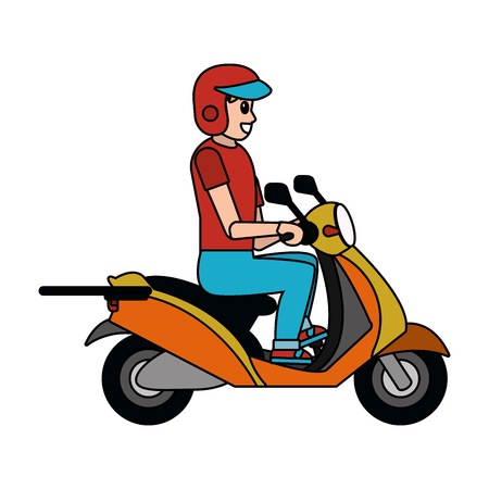man driving motorcycle cartoon vector illustration graphic design