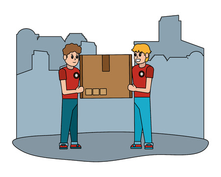 delivery service logistic men with box cartoon vector illustration graphic design