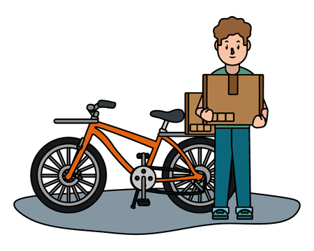 man with bicycle holding box cartoon vector illustration graphic design