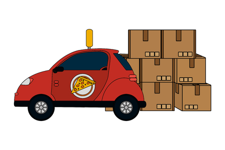 delivery service pizza car with boxes cartoon vector illustration graphic design