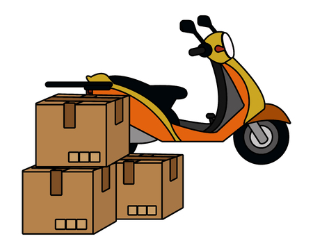 delivery service motorycle with boxes cartoon vector illustration graphic design