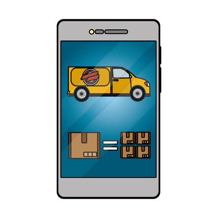 delivery service smartphone shopping cartoon vector illustration graphic design