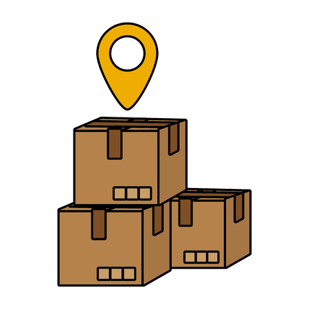 delivery service boxes with gps location cartoon vector illustration graphic design Çizim