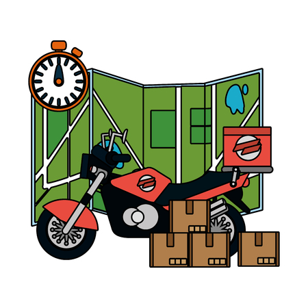delivery service motorycle cartoon vector illustration graphic design