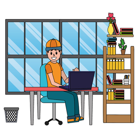 online education man studying with technology device at office library cartoon vector illustration graphic design