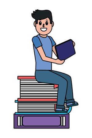 online education man studying with technology device over books cartoon vector illustration graphic design