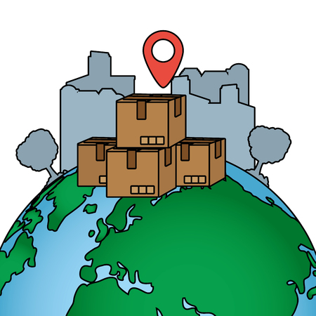 delivery service boxes over world map cartoon vector illustration graphic design