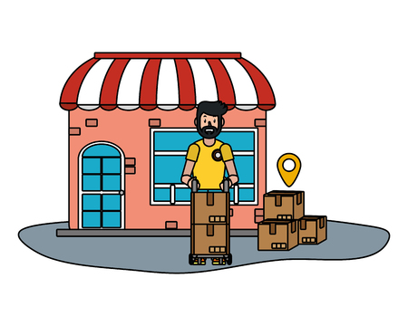 delivery service store cartoon vector illustration graphic design