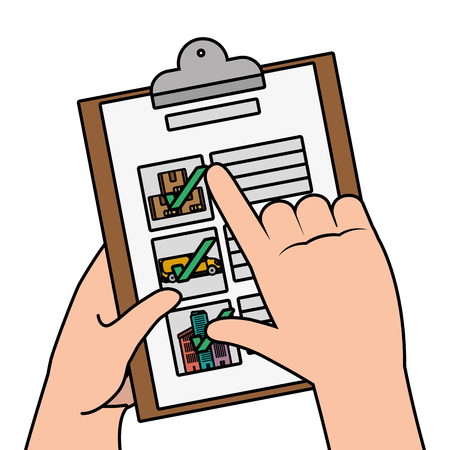 delivery service documents cartoon vector illustration graphic design Çizim