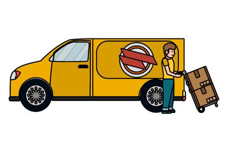 delivery service truck cartoon vector illustration graphic design