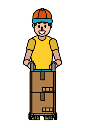 delivery service courier cartoon vector illustration graphic design