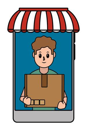 online delivery smartphone cartoon vector illustration graphic design