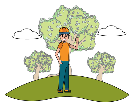 man body at nature park cartoon vector illustration graphic design