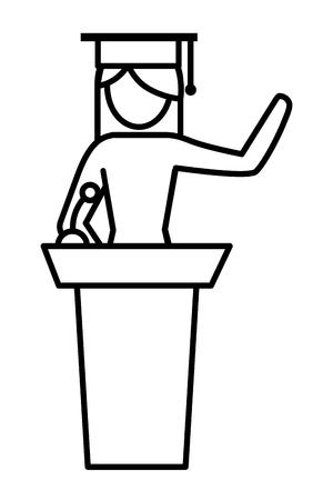 woman student pictogram at tribune podium wearing graduation hat cartoon vector illustration graphic design