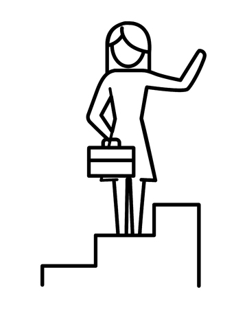 woman pictogram holding suitcase climbing stairs cartoon vector illustration graphic design