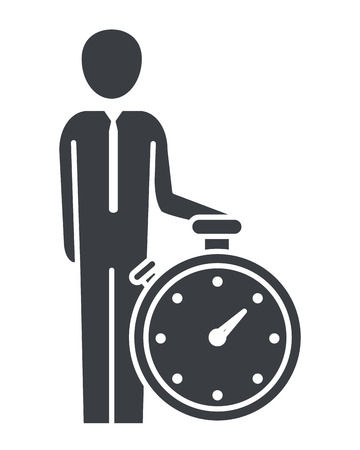 man pictogram with clock cartoon vector illustration graphic design