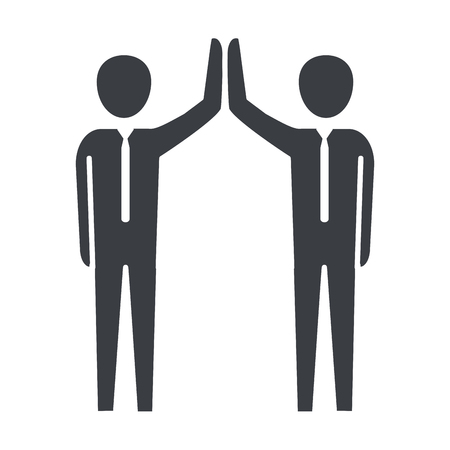 men pictogram shaking hands cartoon vector illustration graphic design