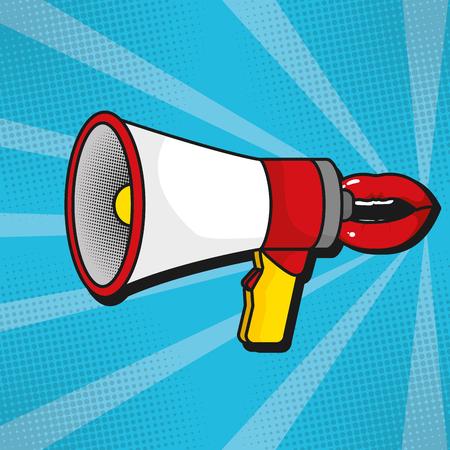 pop art concept megaphone cartoon vector illustration graphic design Illustration