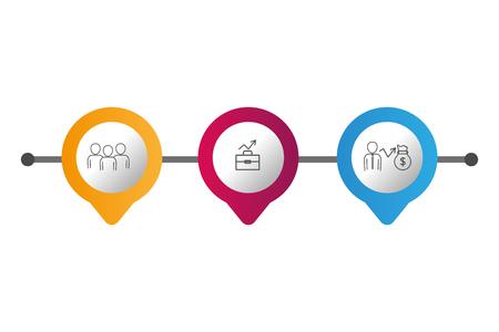 infographic layouts gps location saving money concept cartoon vector illustration graphic design 向量圖像