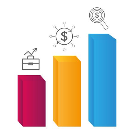 statistics graphics bar chart cartoon vector illustration graphic design