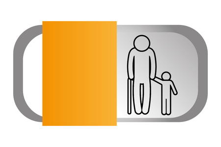 family pictogram old man with grandchild infographic layout cartoon vector illustration graphic design Illusztráció