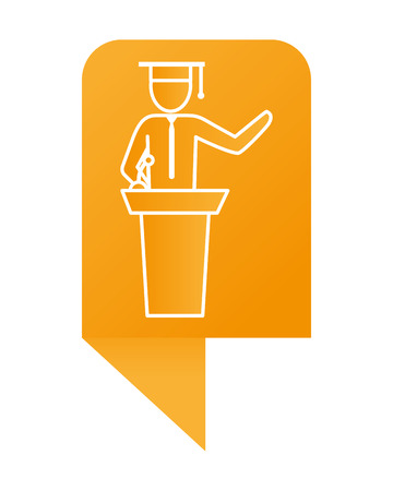 man pictogram student wearing graduation hat over tribune podium infographic layout cartoon vector illustration graphic design Иллюстрация