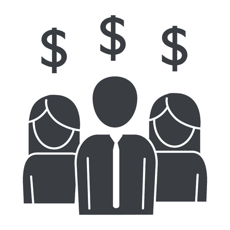 people pictogram saving money concept cartoon vector illustration graphic design