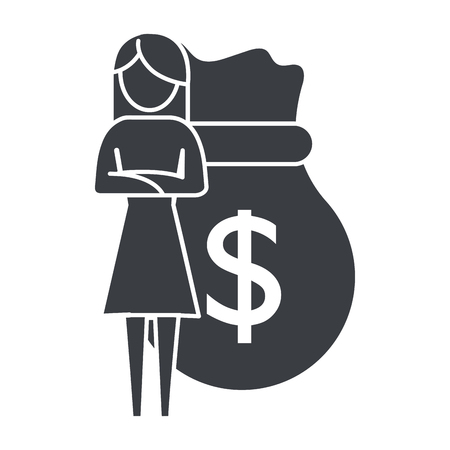 woman pictogram saving money concept cartoon vector illustration graphic design