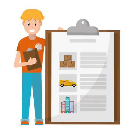 young man with checklist vector illustration graphic design Illustration