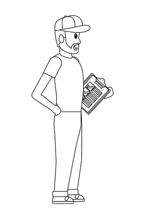 young man with checklist and hat black and white vector illustration graphic design