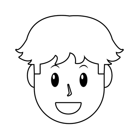 young man avatar only face black and white vector illustration graphic design