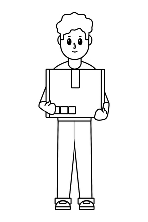 delivery guy with box carrying black and white vector illustration graphic design Imagens - 118163211