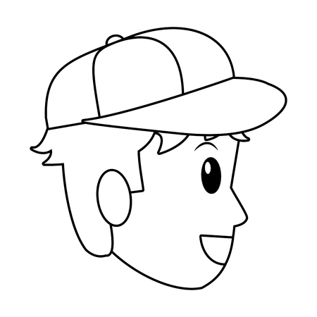 young man avatar only face with hat black and white vector illustration graphic design Illustration