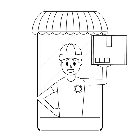 delivery guy carrying boxes going out cellphone black and white vector illustration graphic design