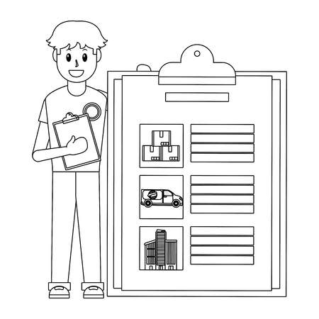 young man with checklist black and white vector illustration graphic design