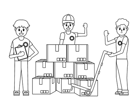 delivery guy with boxes piles and pushcart teamwork black and white vector illustration graphic design