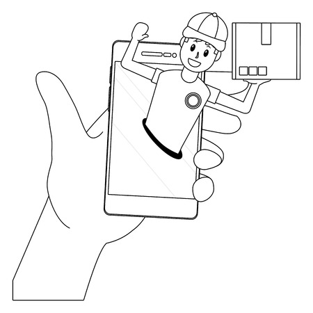 delivery guy going out cellphone with box black and white vector illustration graphic design