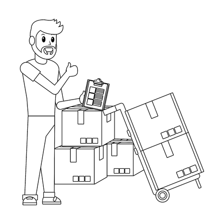 delivery guy with box and checklist pushcart black and white vector illustration graphic design