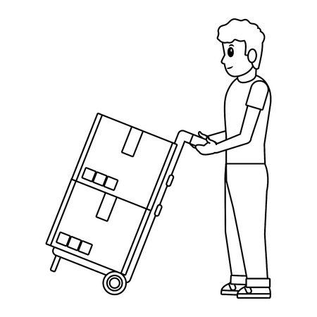 delivery guy with pushcart and boxes black and white vector illustration graphic design Illustration